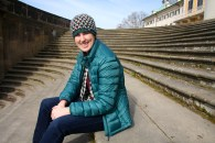 Hanging out on the steps of the Elbe in front of the palace