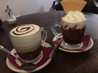 Amazing hot cocao from the Choko-Cafe. The one on the right includes rum-soaked cherries