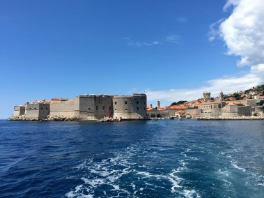 Seeing the walled city of Dubrovnik from the ferry