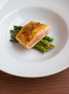 salmon with a caramelized mustard crust
