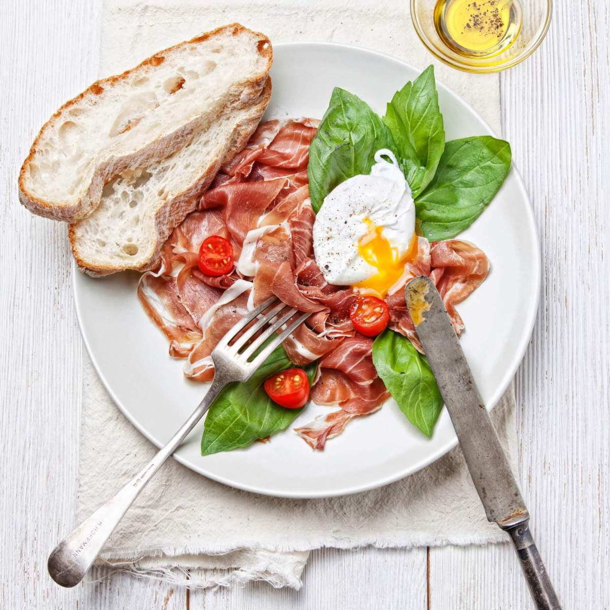 Ham Salad with Poached Egg