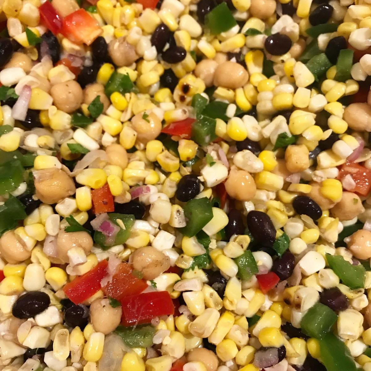 Grilled Corn, Garbanzo and Black Bean Summer Salad
