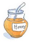 Honey pot and spoon illustration by Carrie Hill for The Allotment Kitchen by Susan Williamson