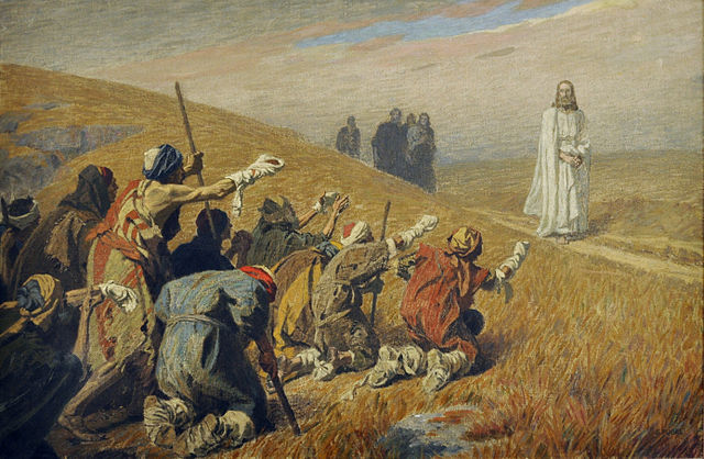 Painting of Jesus with 10 lepers