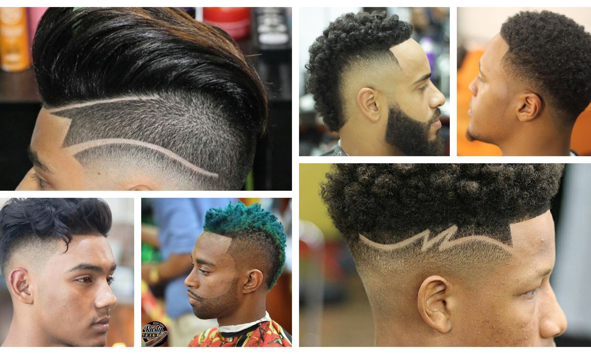 Drop Fade Hairstyles Black Men Collage