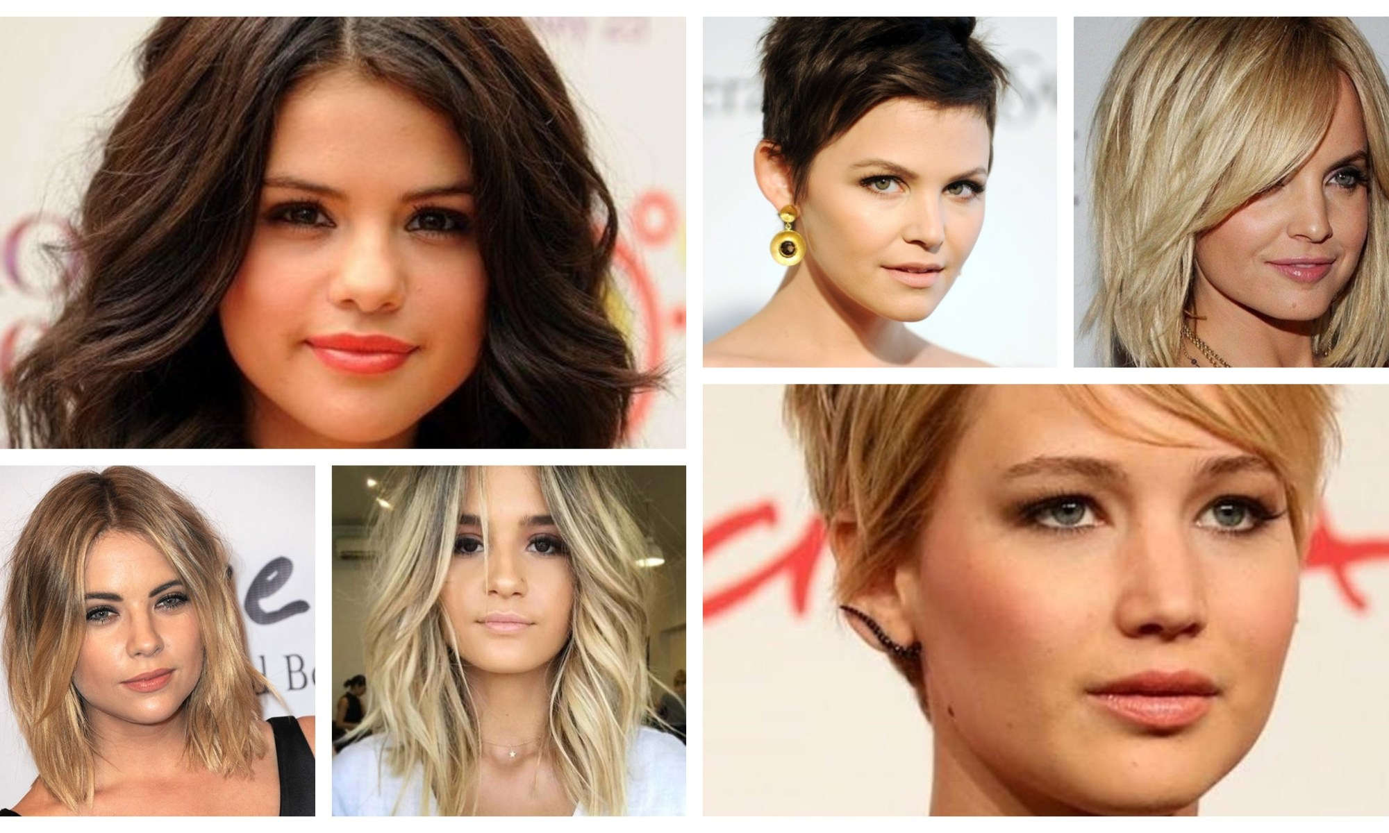 Round Face Hairstyle Women Collage