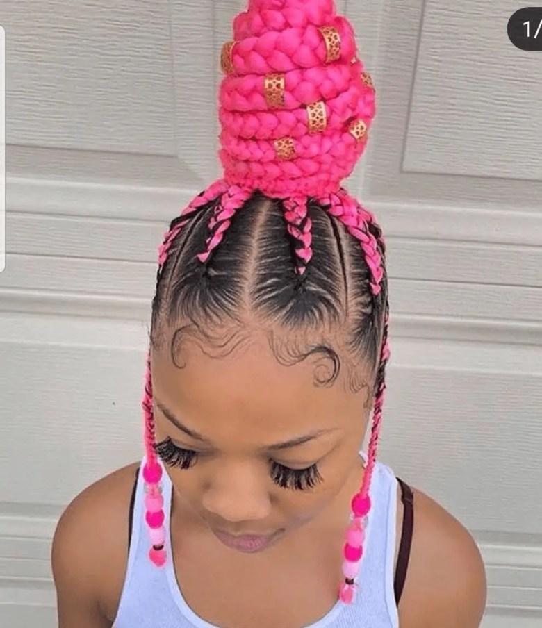 Feed-In Pink High Bun Goddess Braid