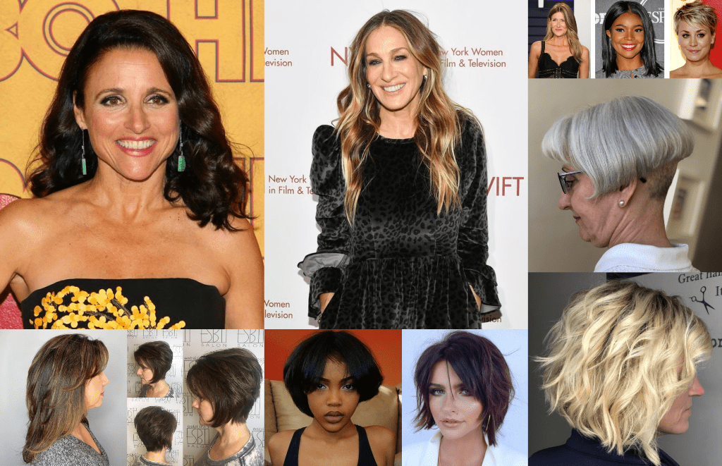 Undefined Jawline Hairstyles Collage