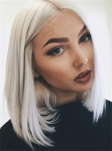 Natural looking synthetic wig