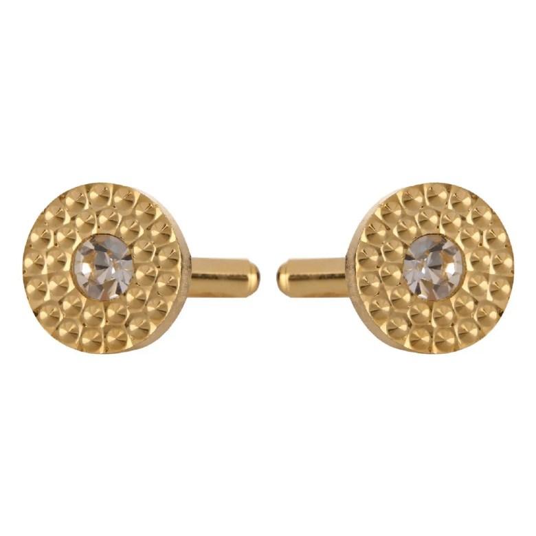 Fancy button round textured cufflinks