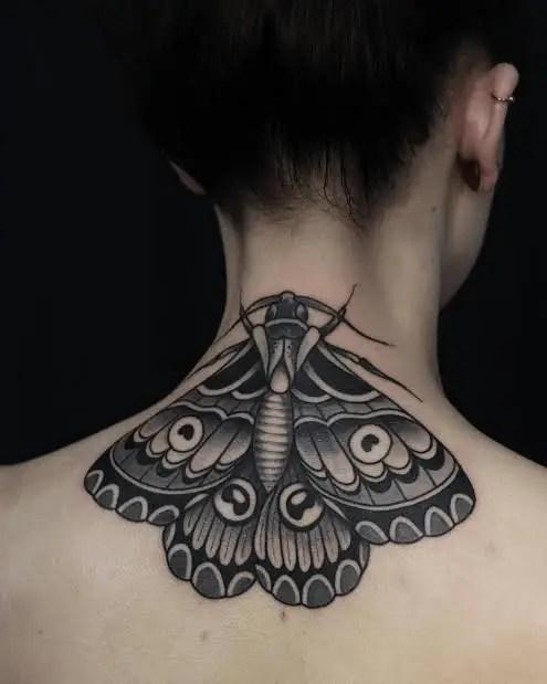 Moth Neck Tattoo