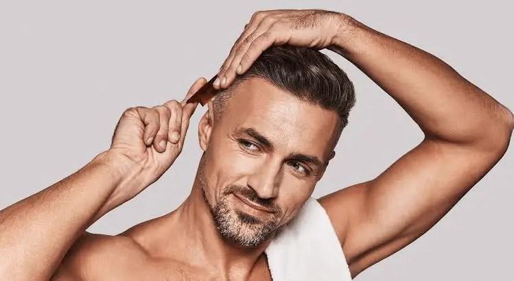 Man parting hair