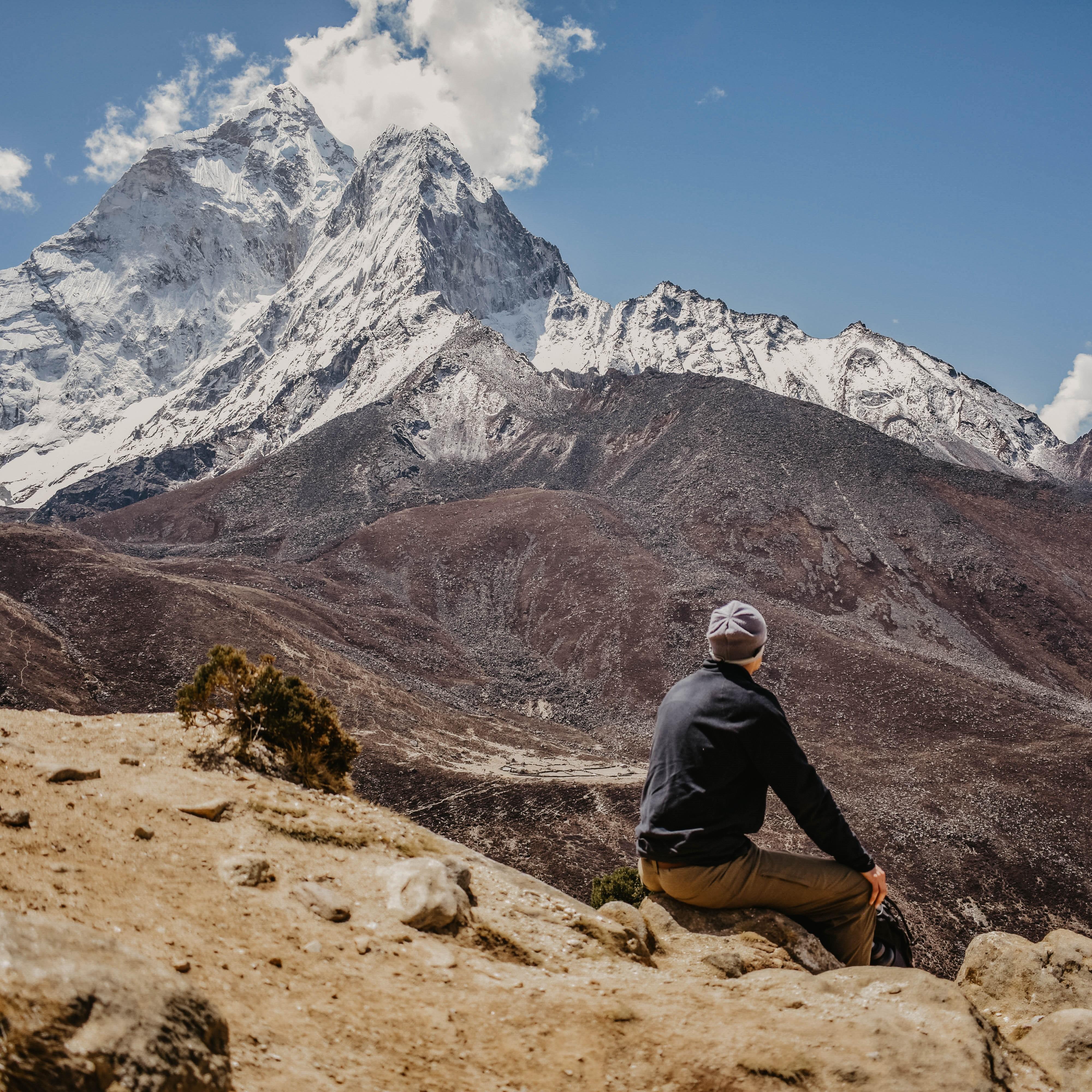 Climbing up above Dingboche on the Everest Base Camp Trek