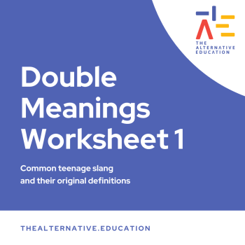 Image with words saying Double Meanings Worksheet 1 and The Alternative Education Logo at the side