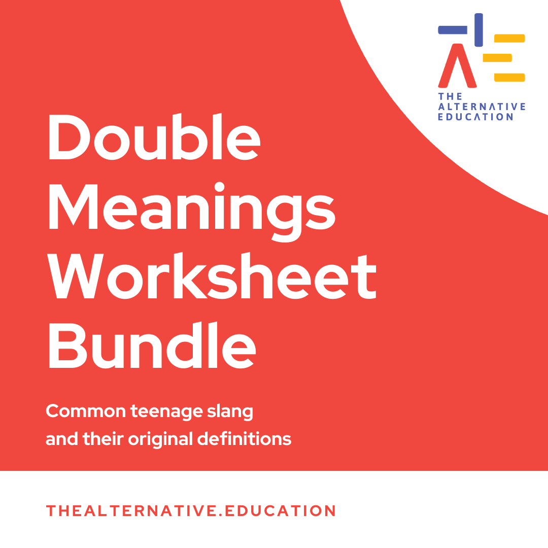 Image with words saying Double Meanings Worksheet Bundle with The Alternative Education Logo at the side