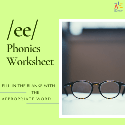 picture of glasses with words saying ee phonics worksheet