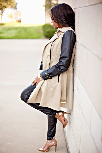 fashion blogger, black fashion blogger, dallas blogger, dallas fashion blogger, metallic shoes, leather leggings, trench coat, zara shoes, trench coat leather sleeves