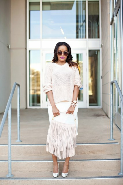 blush pink, snakeskin pump, white skirt, pencil skirt, blush sweater, fringe, fringe handbag, fringe purse h&m, steve madden, dallas blogger, dallas fashion blogger, fashion blogger, detroit fashion blogger