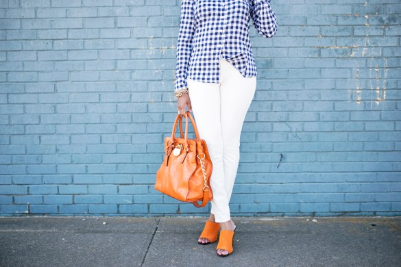 how to wear plaid- zara orange mules- white pants- how to wear white pants- michael kors ostrich handbag- spring fashion- how to wear bright colors- fashion blogger- dallas fashion blogger- brown girl blogger