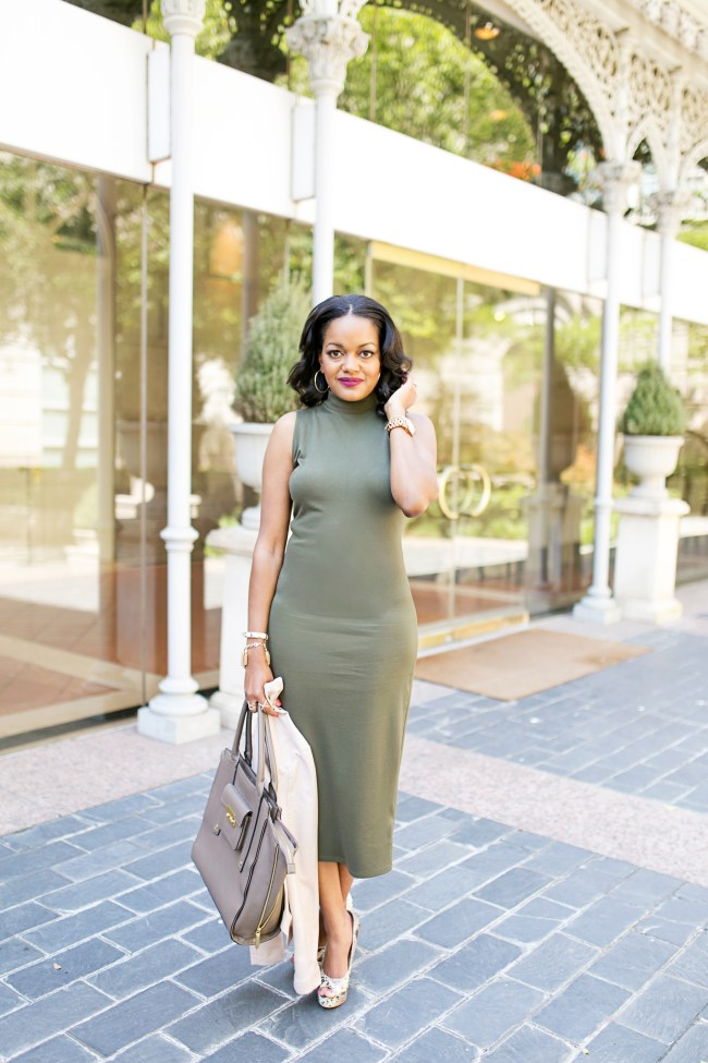 WHO, WHAT WEAR, olive midi dress, target, blush pink leather jacket, snakeskin pumps, dallas blogger, affordable fashion