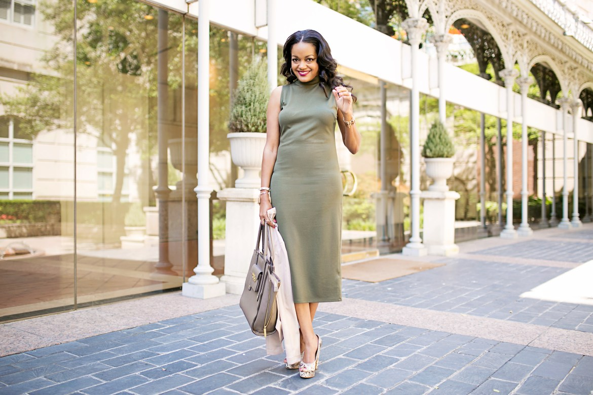 olive green midi dress, target, blush pink leather jacket, snakeskin pumps, dallas blogger, affordable fashion
