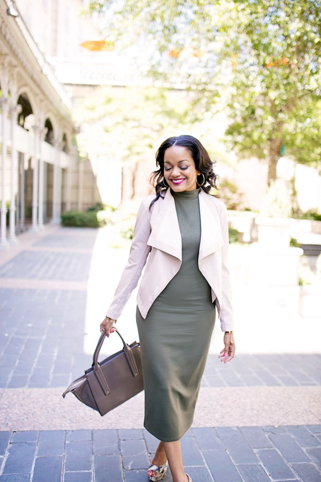 olive midi dress, blush pink leather jacket