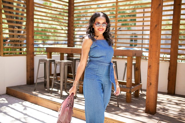 denim jumpsuit- dolce and gabbana sunglasses