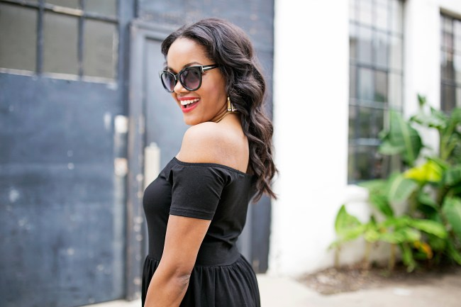 tom ford look for less sunglasses, target cat eye sunglasses, SheIn off shoulder black dress, affordable fashion, dallas blogger