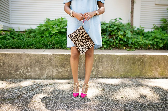 Leopard clutch, valentino rockstud look for less, bcbgeneration studded pump, dallas fashion blogger, clare v dupe, valentino rockstud dupe