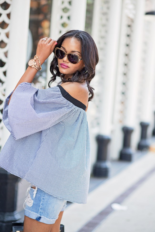 SheIn plaid off shoulder top, fringe denim shorts, givenchy sunglasses, dallas fashion blogger, black fashion blogger