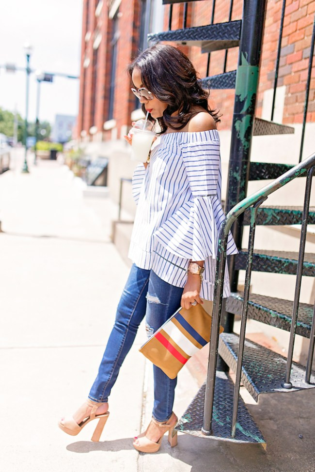 date night outfit, what to wear on date night, date night outfit inspiration,american eagle ripped jeans, steve madden kierra, platform sandals, off shoulder strip top, shin bell sleeve top, clare v supreme clutch, dallas blogger
