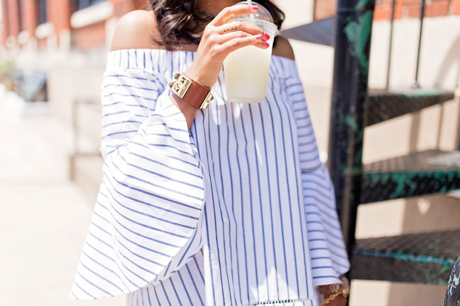 SheIn stripe off shoulder bell sleeve top