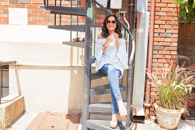 american eagle ripped jeans, steve madden kierra, platform sandals, off shoulder strip top, shein bell sleeve top, clare v supreme clutch, dallas blogger