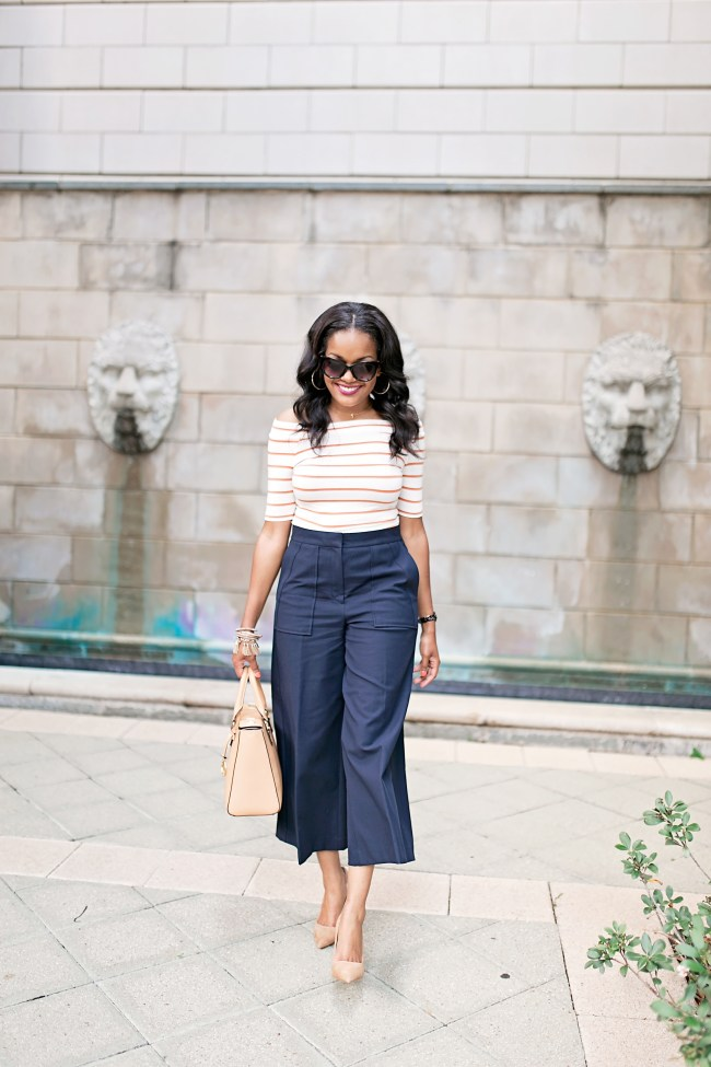 what to wear to the office, workwear fashion, work style, workplace fashion, workwear inspiration, how to wear culottes, ann taylor wide leg pants, dallas blogger, black girl blogger