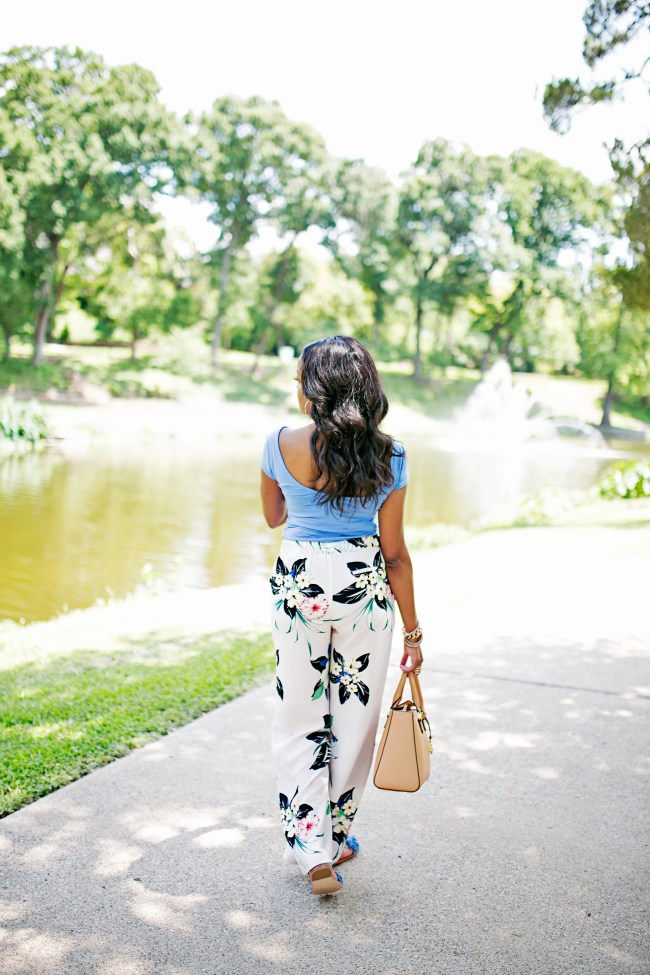 OPEN BACK TOP, FLORAL PANTS