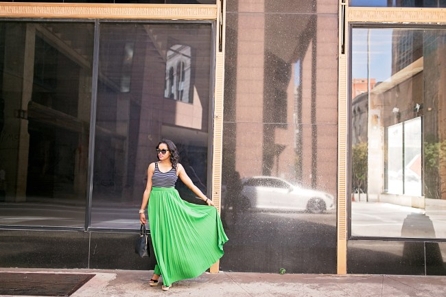 SheIn green maxi skirt, h&m scoop back bodysuit, michael kors black wedges, tory burch robinson bag, target cat eye sunglasses, dallas fashion blogger, black fashion blogger, how to wear a maxi skirt