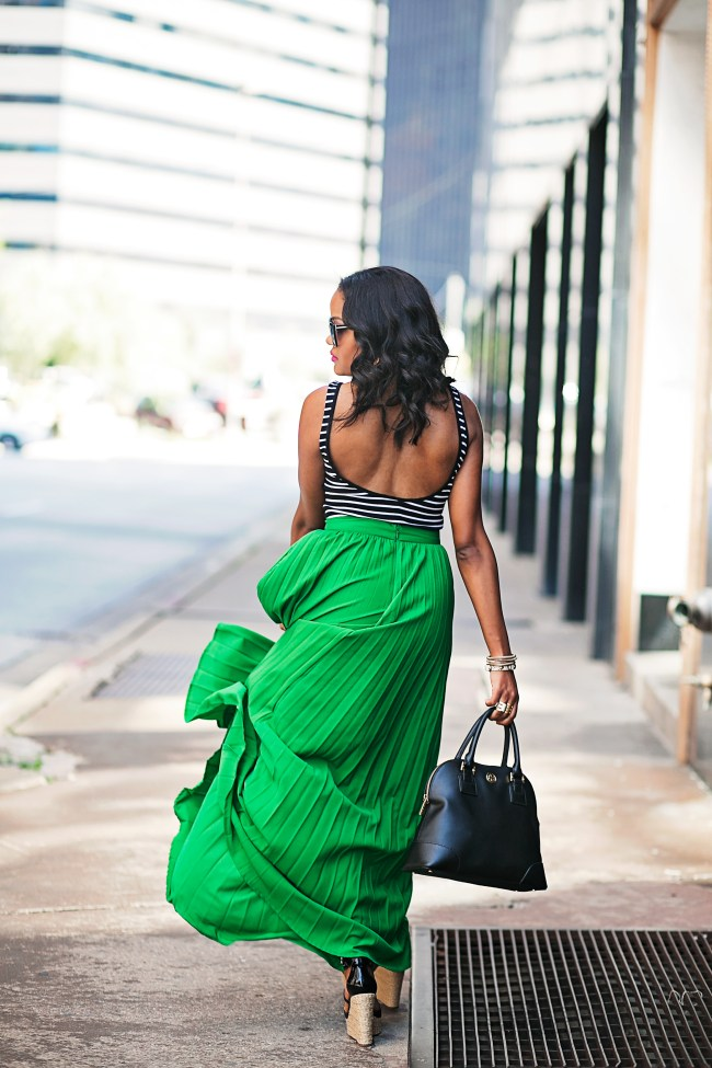 scoliosis, SheIn green maxi skirt, h&m scoop back bodysuit, michael kors black wedges, tory burch robinson bag, target cat eye sunglasses, dallas fashion blogger, black fashion blogger, how to wear a maxi skirt