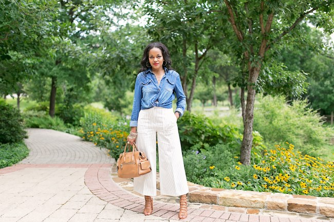 ann taylor wide leg pant, culottes, office style, wear to work, how to wear denim shirt to work, workwear, dallas blogger