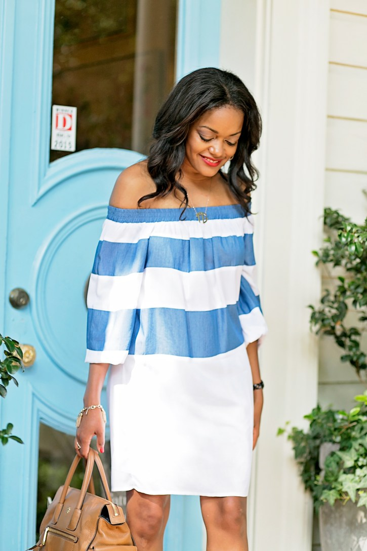 SHEIN OFF SHOULDER STRIPE DRESS, off shoulder dresses,STEVE MADDEN KIERRA, NUDE PLATFORMS, OFF SHOULDER DRESS, DALLAS BLOGGER, BLACK FASHION BLOGGER