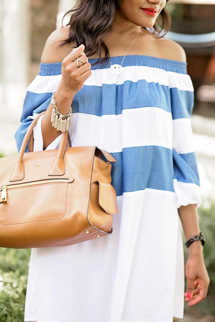 sheIn off shoulder dress,off shoulder dresses, monogram necklace, off shoulder trend, dallas blogger, fashion blogger, black fashion blogger, tory burch handbag