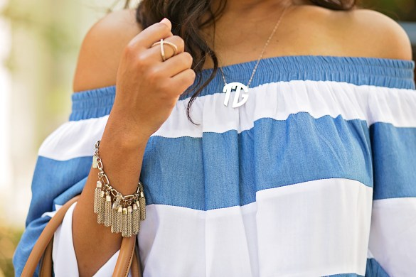 sheIn off shoulder dress, monogram necklace, off shoulder trend, dallas blogger, fashion blogger, black fashion blogger, tory burch handbag