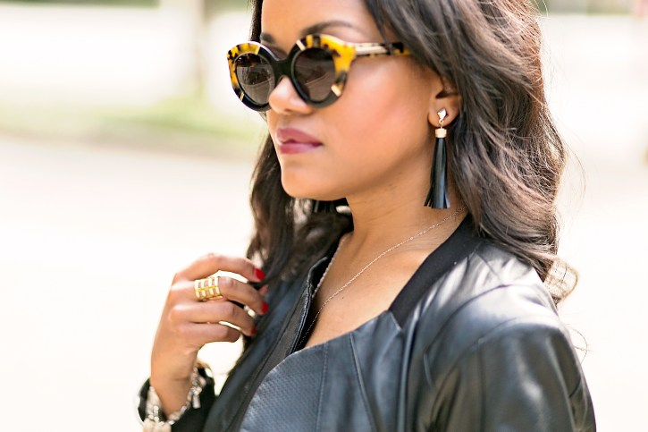 how to wear leather jacket, fall fashion, bcbg leather jacket, ripped jeans, how to wear leather jacket, fashion blogger, dallas blogger, LAMB platform sandals, karen walker sunglasses