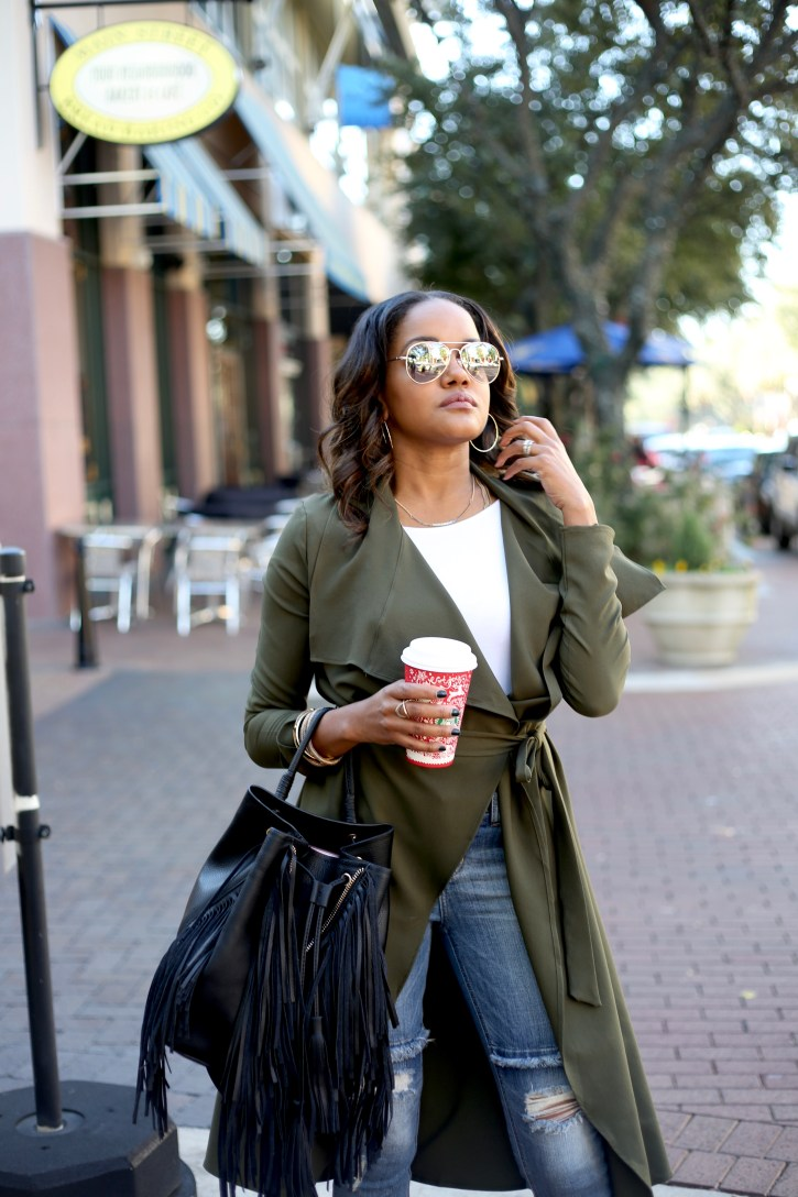 PINK BLUSH MATERNITY,SP BLACK RIPPED JEANS, FALL FASHION, FALL CASUAL OUTFIT, OLIVE GREEN TRENCH COAT, OLIVE GREEN DUSTER, AFFORDABLE TRENCH COAT, ZARA FRINGE BACKPACK, olive trench