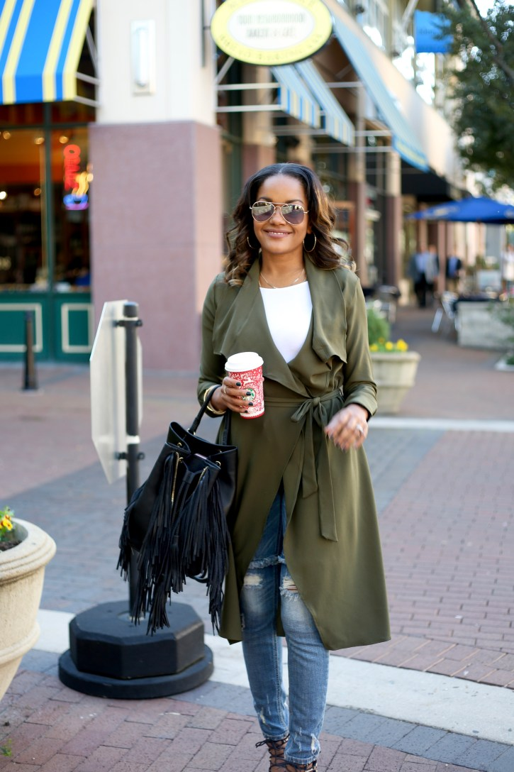 PINK BLUSH MATERNITY, olive trench coat, SP BLACK RIPPED JEANS, FALL FASHION, FALL CASUAL OUTFIT, OLIVE GREEN TRENCH COAT, OLIVE GREEN DUSTER, AFFORDABLE TRENCH COAT, ZARA FRINGE BACKPACK,