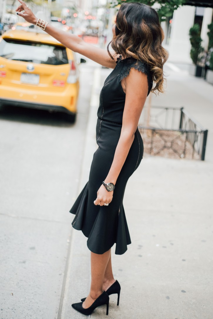 RENT THE RUNWAY CATHERINE DEANE GEMINI DRESS, LITTLE BLACK DRESS, COCKTAIL DRESS, HOLIDAY DRESS, DATE NIGHT, NEW YORK, THE ROGER HOTEL NYC, DALLAS BLOGGER, BLACK FASHION BLOGGER, WHAT TO WEAR FOR ENGAGEMENT PHOTOS, WHAT TO WEAR ANNIVERSARY, NINE WEST TATIANA PUMPS