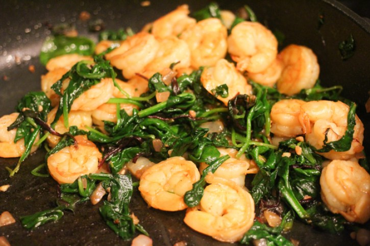 spinach and grilled shrimp