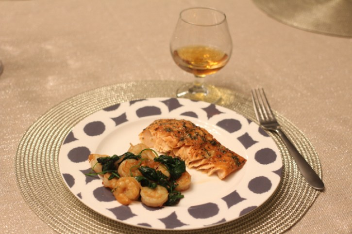 spinach and grilled shrimp, heather's grilled salmon recipe