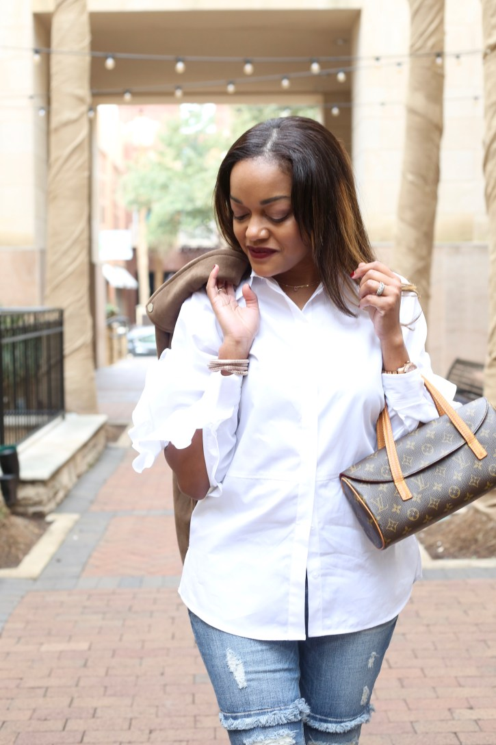 asos ruffle sleeve shirt, statement shirt, how to wear classic white shirt, classic white shirt outfit, brunch outfit ideas, under $100 outfit, dallas blogger, ruffle jeans, louis vuitton clutch, dramatic sleeve shirt