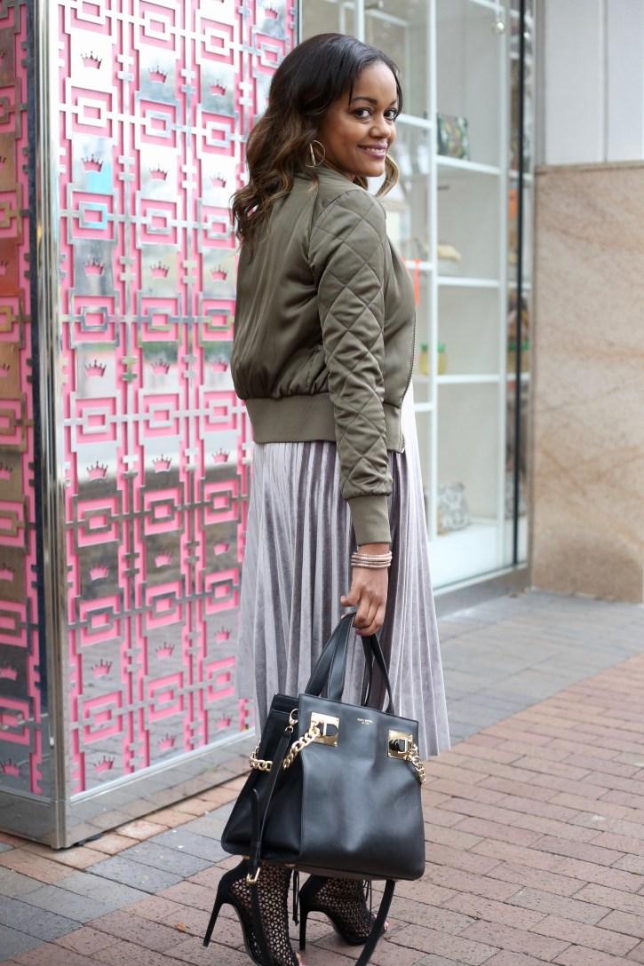 how to wear velvet in spring, velvet midi skirt, pleated midi skirt, spring transitional piece, dallas blogger, army green bomber, zara lace up booties, dallas blogger