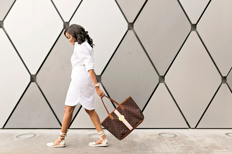 white shirt dress, casual summer dress, barrington gifts tote bag, espadrille sandals, affordable fashion, dallas blogger, black girl blogger, summer style inspiration